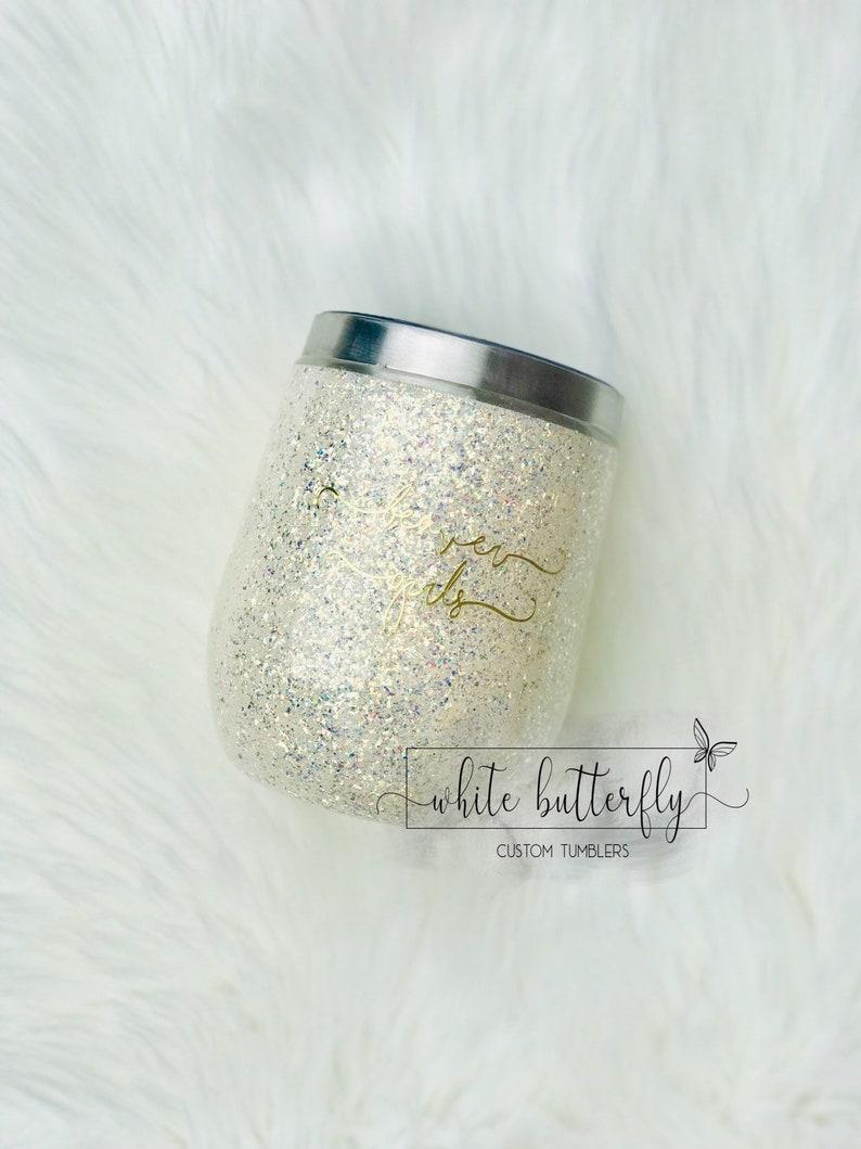 Off White Tumblers Wine Tumbler Wedding Glittered Wine Tumbler Ivory Cup Hogg Glitter Custom Shattered Glitter