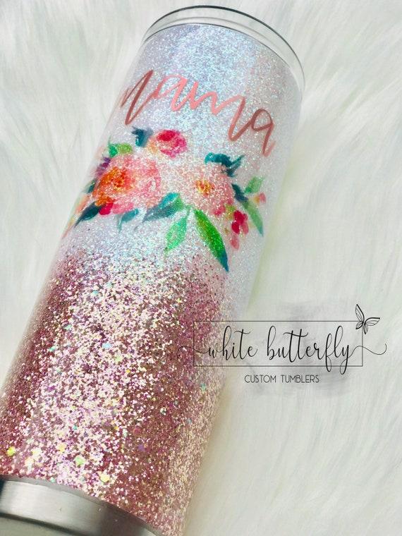 Mama Floral Tumbler Glitter