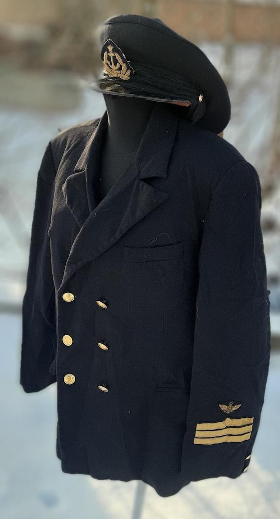 Military peaked cap jacket Navy