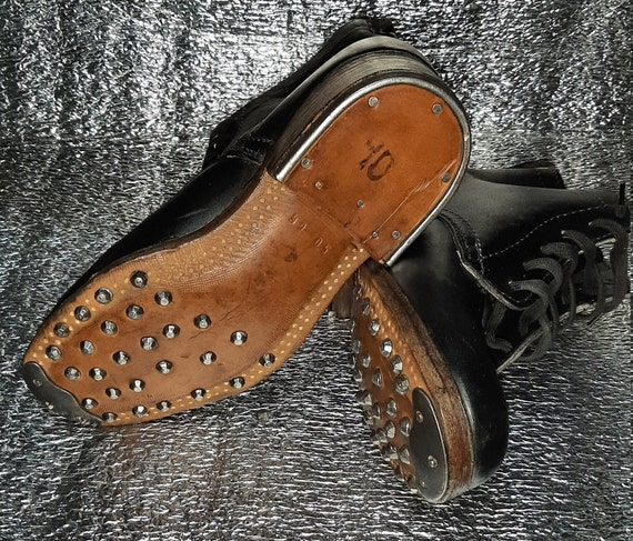 Vintage leather boots with lace 1960s