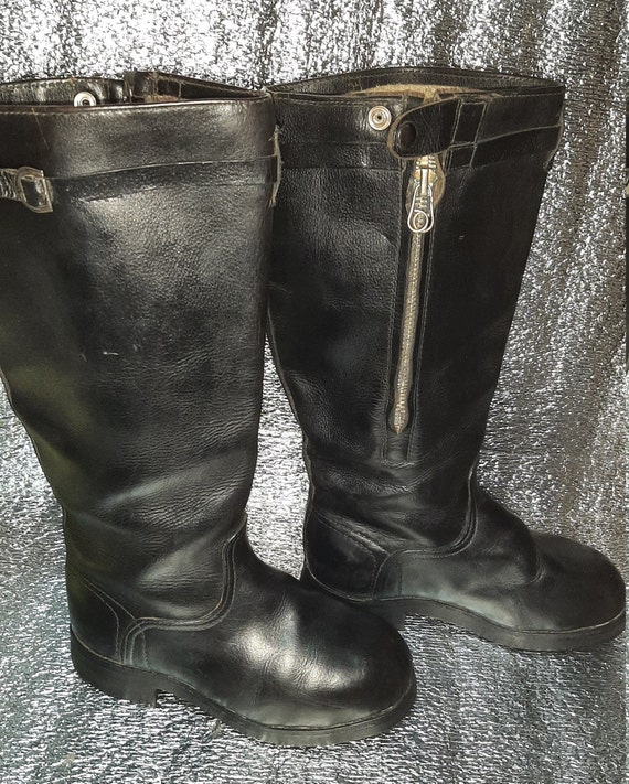 Soviet military winter leather boots USSR Air Forc