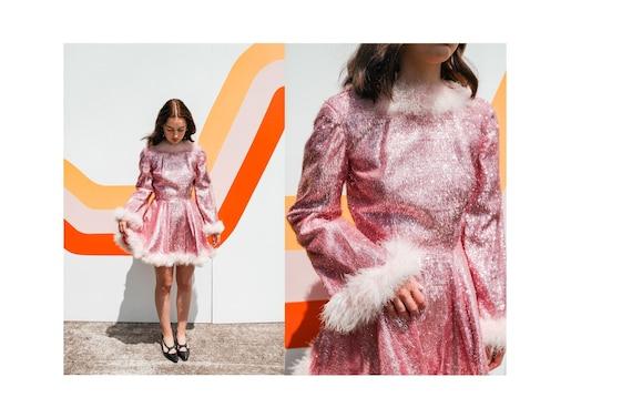 Vintage Pink Tinsel Dance Costume Dress