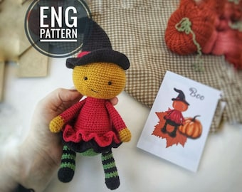 Amigurumi Pumpkin Head boy Crochet Pattern  PDF / DIY Amigurumi Doll easy english pattern toy for Halloween / pumpkin pattern