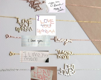 Handwriting Necklace • Custom Actual Handwriting Jewelry • Signature Necklace • Memorial Personalized Christmas Gift • Mother's Gift