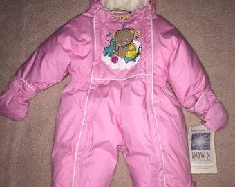 NEW Baby Girls Winter Fleece Coverall 6-9 Month Pink Disney Pooh Bear Snowsuit