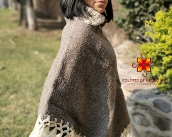 Boho Poncho Wrap for Winter Color Brown and gray Mexican Wool Cape Neck Long