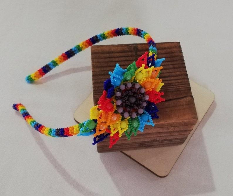 Mexican hair headband  chaquira hair headband  Chiapas hair headband  hair headband handmade  Colorfulhair headband  bead hair headband
