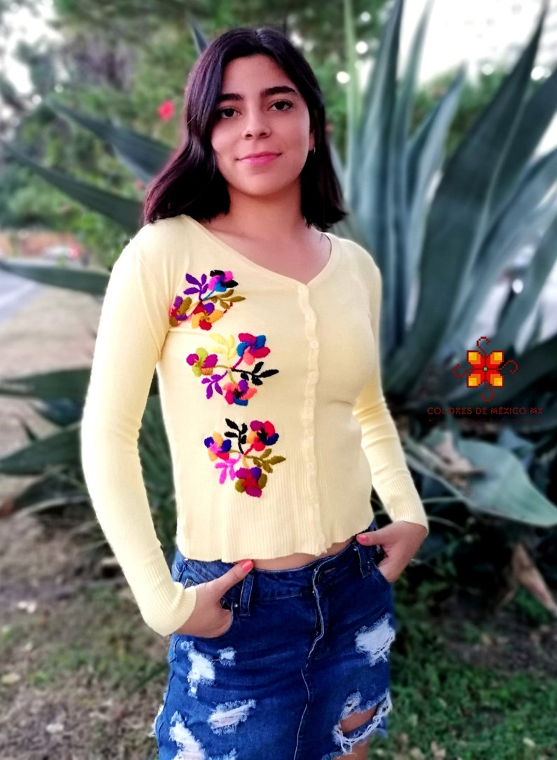 Cashmere sweater sweater vintage COLOR YELLOW cardigan sweater buttons Mexican sweater handmade oversized embroidered sweater