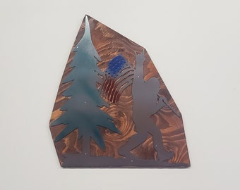 BIGFOOT Sasquatch american flag   Made in USA rustic cabin wall art v1 bigfoot with flag bigfoot big foot