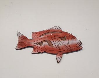 Red Snapper fish wall décor metal art on wood  Made in USA salt water game fish  fishing gift wall décor fish gifts for men
