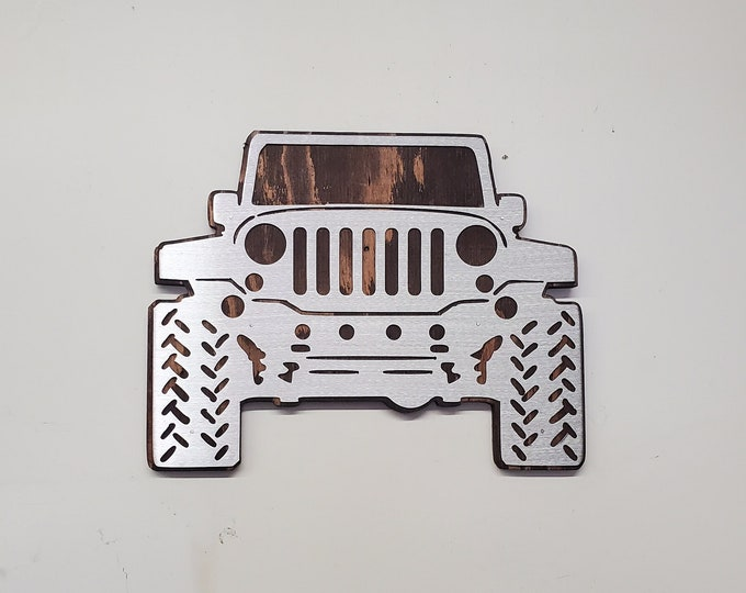 JEEP jeep wrangler garage wall decor jeep girl tribute on wood Made in USA  jeep wrangler wall sign gift man gift mancave jeep sign v1