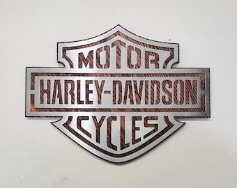 Harley Davidson metal art tribute Bar & Shield wall sign Harley Davidson gift motorcycle wall decor made in usa