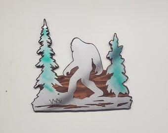 BIGFOOT Sasquatch with trees   Made in USA rustic cabin wall art v1 bigfoot in the wild bigfoot big foot