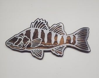 PERCH  fish metal art on wood     Made in USA   Beamish Metal Works    fishing rustic metal art wall decor free shipping