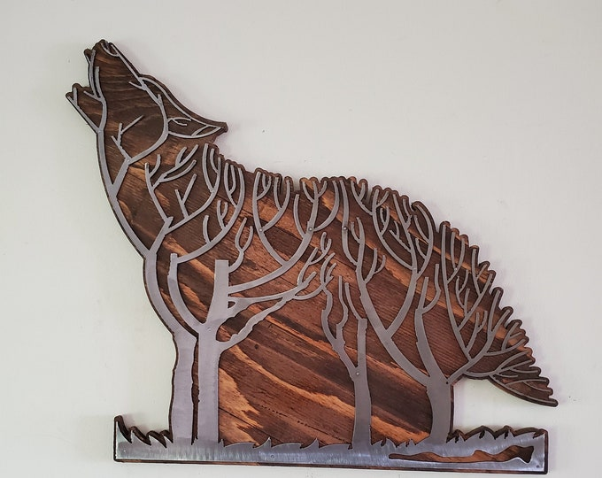 Wolf tree metal art on wood wall décor  Made in USA rustic metal wolf