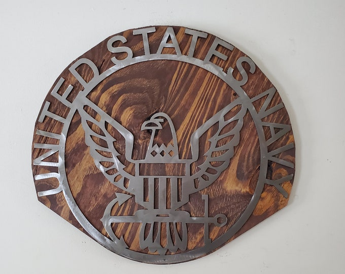 United States Navy metal wall sign   Made in USA  rustic military metal art wall decor on wood