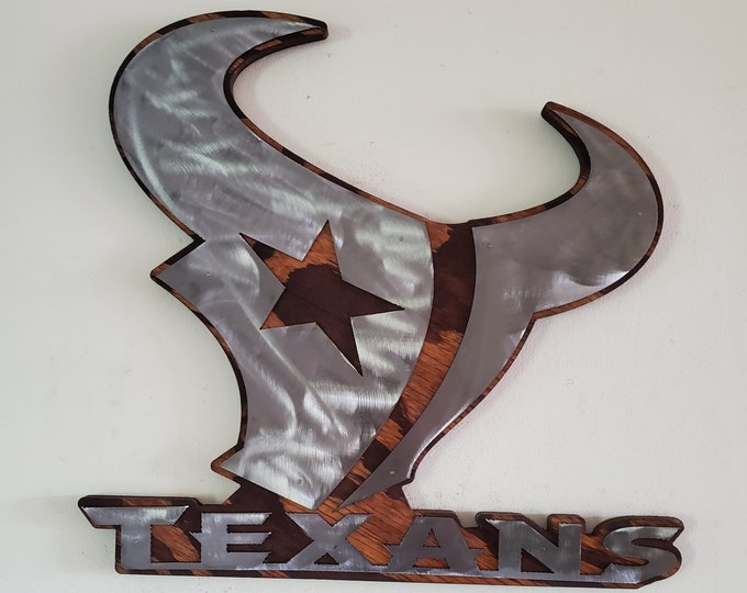 Texas Titans tribute metal art on wood    Made in USA    metal art wall decor football wall sign