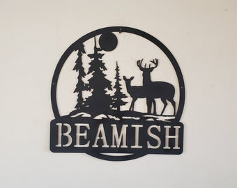 Personalized Monogram Deer forest scene sign      Made In USA      metal art monogram campfire wall decor