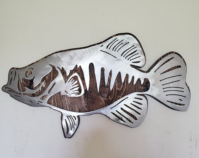 CRAPPIE crappy fish metal art on wood     Made in USA   Beamish Metal Works black crappie rustic metal art wall decor free shipping