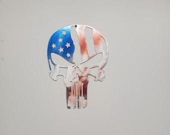 Punisher skull American flag   metal flag   Made in USA rustic cabin wall art v1 Americana flag skull