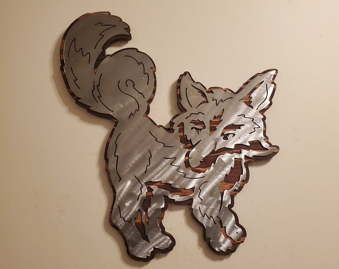 FOX metal art on wood wall décor  Made in USA redfox wild fox wildlife art