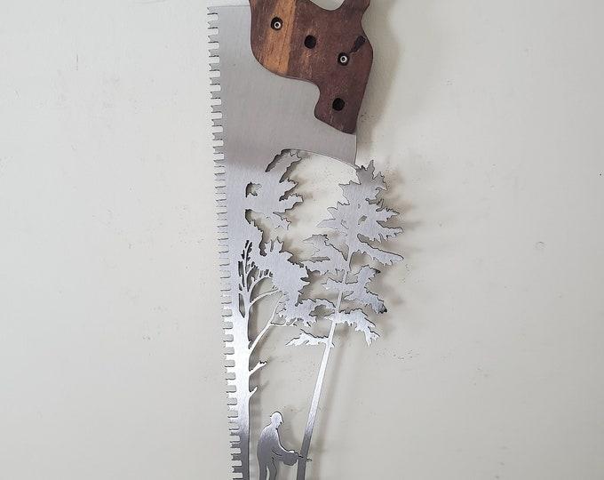 Wood saw lumberjack felling tree metal art Made in USA  rustic metal wall decor