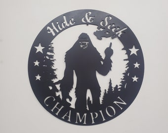 BIGFOOT Sasquatch Find This    Made in USA rustic cabin wall art v1 hide and seek bigfoot big foot