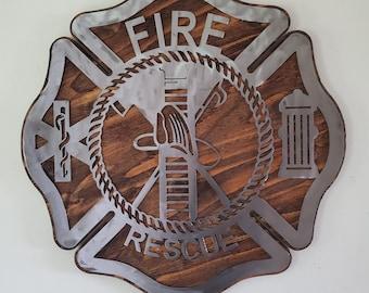 Fire Department fireman   metal art wall decor on wood first responder