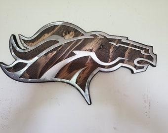 Denver Broncos tribute metal art on wood  football rustic wall decor