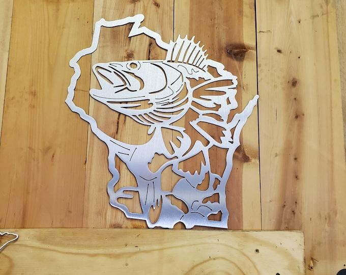 Wisconsin with Walleye fish scene    Made in USA    rustic metal wall art decor walleye wall art WI hunting fishing