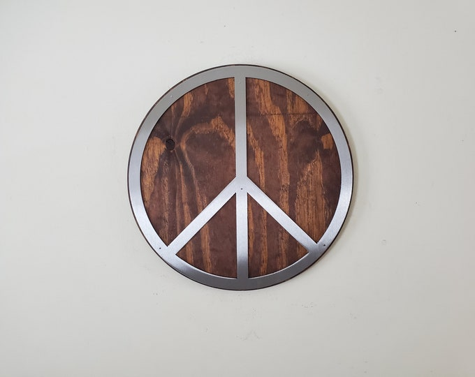 Unique Peace Sign metal art wall decor   Made in USA  rustic metal wall decor V1
