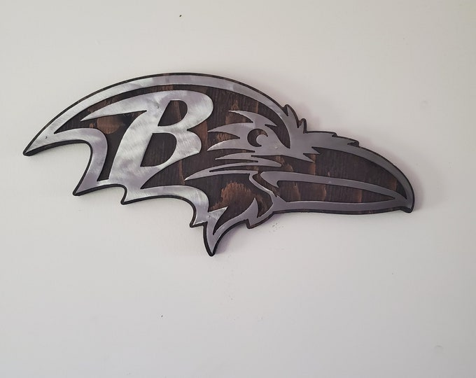 Baltimore Ravens tribute metal art on wood   Made in USA  Rustic wall decor metal sign