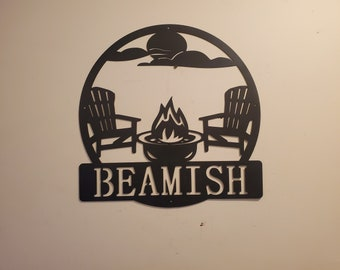 Personalized Monogram camping scene Camp fire Made In USA metal art monogram campfire wall decor