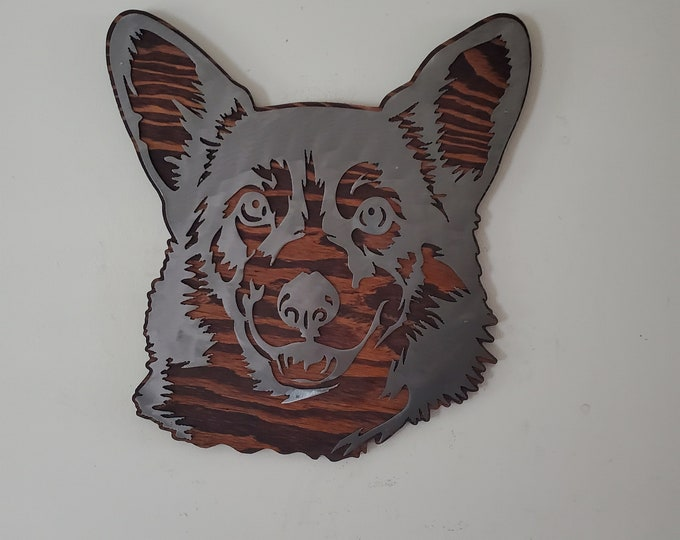 Welsh Corgi metal art on wood Made in USA steel dog metal sign dog lover wall decor