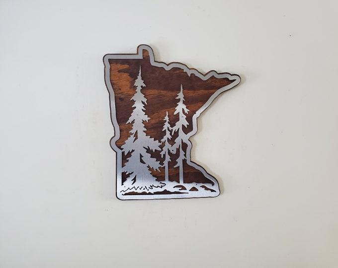 Minnesota Tree scene with wood wall hanging    Made in USA   rustic metal art wall decor