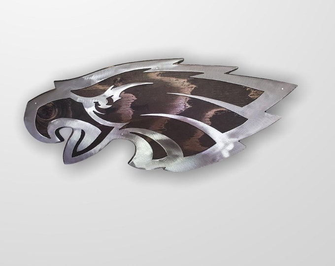 Philadelphia Eagles tribute metal art on wood wall décor eagle football Made in USA
