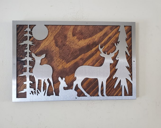 Beautiful unique Deer scene picture metal art wall hanging    Made in USA     rustic black bear wall decor picture frame