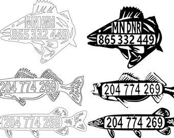custom WALLEYE Fish house numbers  wheelhouse metal art wall decor fish house numbers V3
