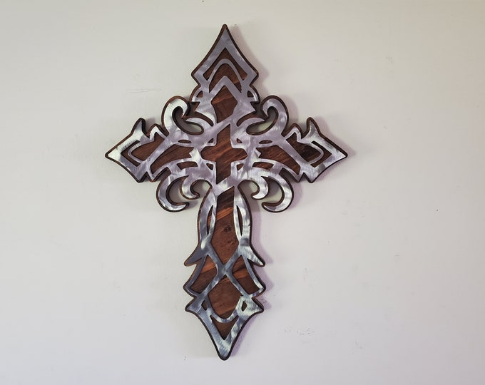 CROSS tribal design religion metal art wall décor MADE in USA  cross wall display religious gifts religious cross wooden cross wall decor