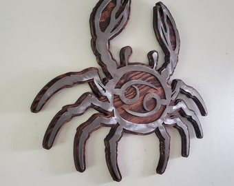 CANCER zodiac metal art wall decor  MADE in USA zodiac rustic wall hanging zodiac crab sign