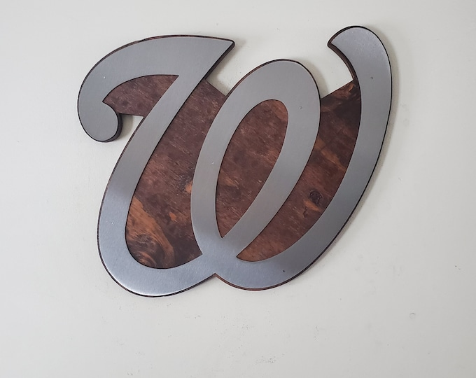 """Washington Nationals  metal art """"W"""" tribute     Made in USA      NFL wall decor"""