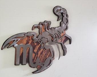 SCORPIO  zodiac metal art wall decor  MADE in USA zodiac rustic wall hanging November birthday