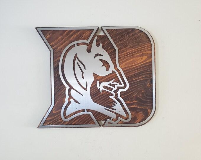 Duke University Blue Devils tribute metal art on wood  football Made in USA rustic wall decor