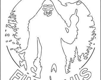 BIGFOOT find this finger cut file Sasquatch svg dxf plasma cut file cricket ai pdf bigfoot middle finger