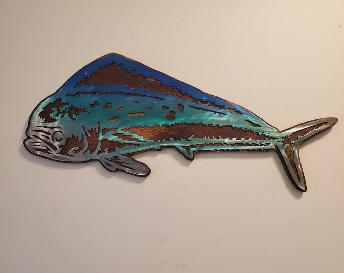 Mahi Mahi fish wall decor metal art on wood  Made in USA    salt water fish  fishing gift wall décor fish gifts for men