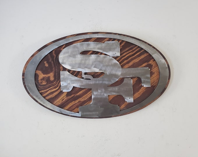 SF 49ers metal art on wood tribute     Made in USA     San Francisco 49ers tribute wall decor