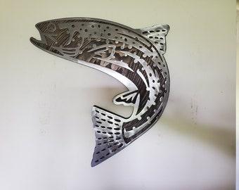 RAINBOW TROUT fish metal art on wood  fishing metal art wall decor