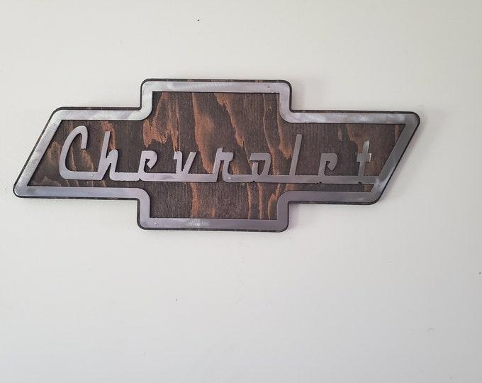 classic Chevrolet chevy emblem metal art on wood beamish  auto metal art wall decor