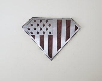 American Superman flag on wood        Made in USA       v1 flag metal art wall decor on wood Americana