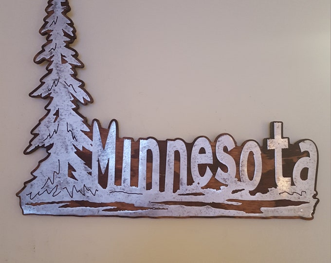Minnesota with tree sign 18 inches wide  metal art wall decor